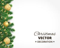 Christmas background with fir tree garland, hanging balls and ribbons. Background with christmas tree garland and ornaments. Hanging golden glitter balls and Royalty Free Stock Photo