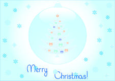 Background of christmas tree inside a snowflakes Royalty Free Stock Images