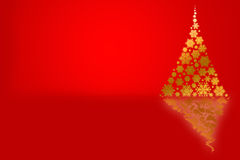 Background with Christmas tree and red copy space Stock Photography