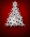 Background with christmas tree. Red background with christmas tree. Vector paper illustration Stock Image