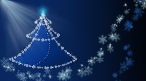 Background with christmas tree and snowflakes Royalty Free Stock Images