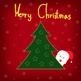Background christmas tree with snowflakes and santa Royalty Free Stock Photography