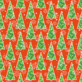 Background with Christmas tree and snowflakes. Seamless pattern for winter holiday design Royalty Free Stock Photo