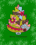 Background with christmas tree and snowflakes Royalty Free Stock Photography