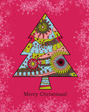 Background with christmas tree and snowflakes Royalty Free Stock Photos