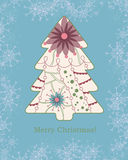 Background with christmas tree and snowflakes vintage Royalty Free Stock Image