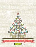 Background with christmas tree and two squirrels. Vector Royalty Free Stock Image