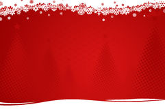 Background with christmas trees. Red-white background with halftone christmas trees and snowflakes Stock Photography
