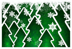 Background with christmas trees. Background with green trees and snowflakes Stock Images