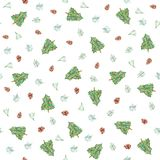 Watercolor Christmas seamless pattern with Christmas trees, cones. Background with Christmas trees for christmas designs stock illustration