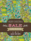 Background with christmas trees and label with sal royalty free stock images