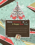 Background with christmas trees and label, vector. Christmas background with forest of christmas trees and label for wishes, vector illustration Stock Photography