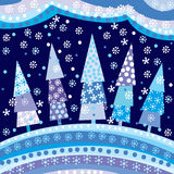 Background with Christmas trees and motifs under night sky. Winter background with Christmas trees and motifs under night sky stock illustration
