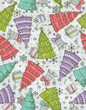 Background with christmas trees, present and bell. Vector illustration Stock Image