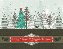 Background with christmas trees, vector Stock Photography