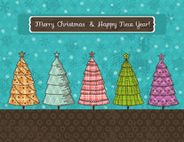 Background with christmas trees, vector Stock Photos