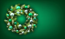 Background with Christmas wreath Royalty Free Stock Image