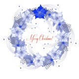 Background  with Christmas wreath and poinsettia Stock Images