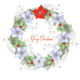 Background  with Christmas wreath and poinsettia Stock Photo