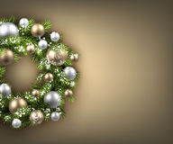 Background with Christmas wreath Stock Photography