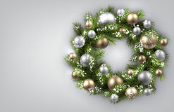 Background with Christmas wreath Stock Images