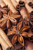 Background with cinnamon and anise stars Royalty Free Stock Photos