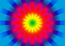 Background with circle rainbow gradient and burst from center stock illustration