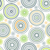 Background - Circles & dots & flower. Circles of dots with flower in green color Stock Photo