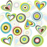 Background with circles and hearts Royalty Free Stock Photos