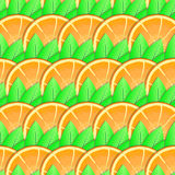 Background with citrus-fruit of orange slices. Abstract background with citrus-fruit of orange slices and green leaf for your design. Seamless pattern. Vector Stock Images