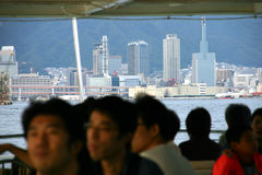 The background city. A boat trip around the Japanese city of Kobe Royalty Free Stock Image