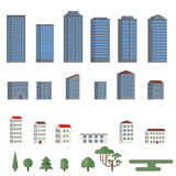 Background with city buildings. City buildings icons set in flat style. Elements of the urban landscape. Flat style vector illustration Royalty Free Stock Photo