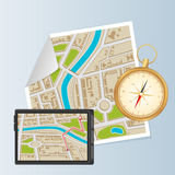 Background of city districts map with compass and navigation Stock Photography