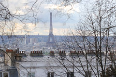 Background of city landscape view, winter, paris, france Stock Image