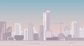Modern city at daylight panoramic view Royalty Free Stock Photos