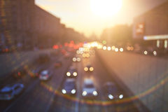 Background  city road at sunset Royalty Free Stock Photo