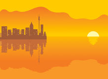Background: city and sunset Royalty Free Stock Photos
