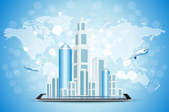 Background with City on Tablet Computer Stock Photo