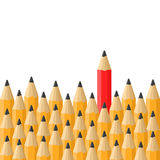 Background with Classic Orange and Red Pencils. Vector Stock Image