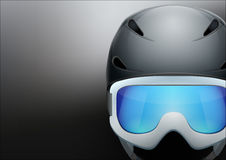Background of Classic Ski helmet and snowboard Stock Photo