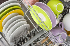 Background of clean dishes in dishwashing machine, top view Stock Images