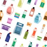 Background with cleaning supplies. Seamless pattern. Vector illustration Stock Images