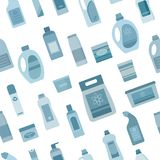 Background with cleaning supplies. Seamless pattern. Vector illustration Stock Photos