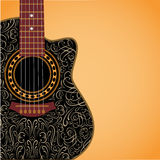 Background with clipped guitar and stylish ornament Stock Photos