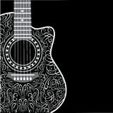 Background with clipped guitar and stylish ornament. Gradient background with clipped guitar and stylish ornament Stock Photos