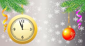 Background with a clock, festive ball and green branches Royalty Free Stock Photo