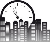 Background with clock and skyscraper Stock Photography