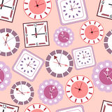 Background with clocks. Vector background with different types of clocks Stock Photography