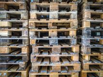 Background Close up of Piles of different types of pallet at a r stock photography