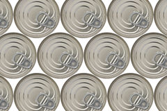 Background of closed cans. Bleeding of the frame. Isolated on white Stock Photo